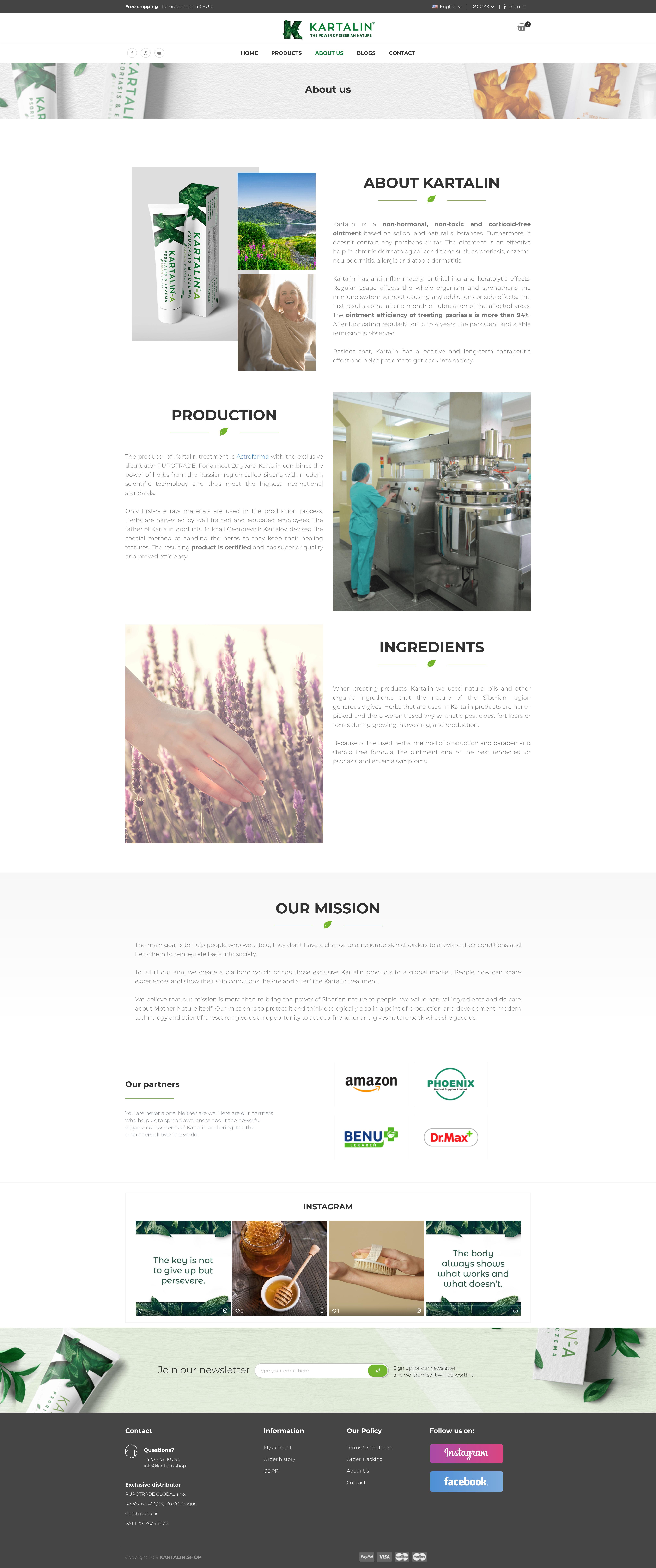 "Kartalin Shop - page ""About Us"""
